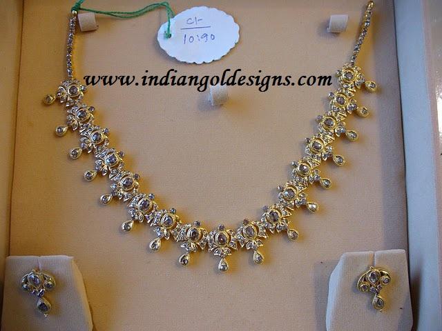 Gold and Diamond jewellery designs beautiful uncut diamond