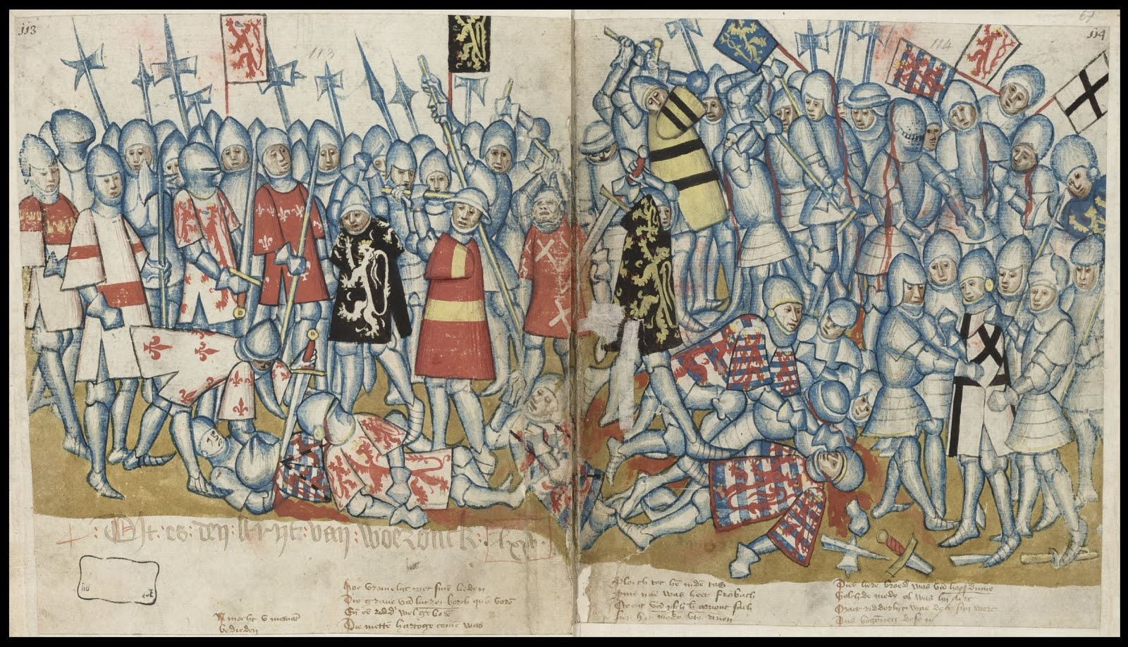 double-page battle scene from medieval brabant chronicle