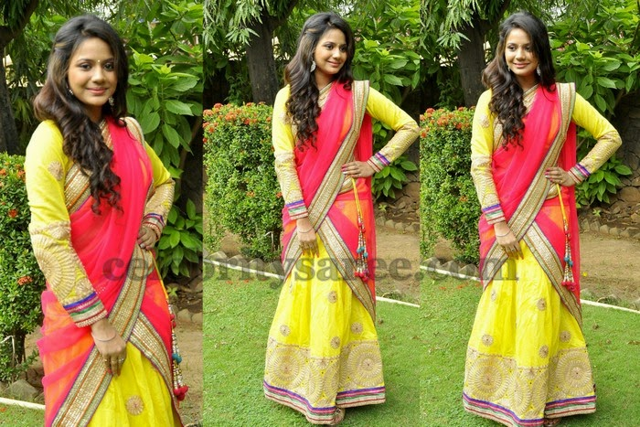 Aishwarya Dutta Yellow Half Saree