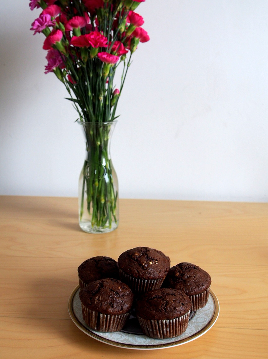 Recipe: Healthy Chocolate Muffins with Maple Cream Cheese Frosting.