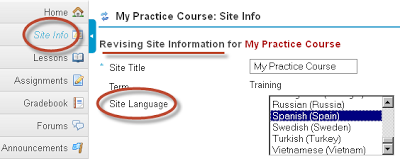 Update Course Site Language Setting