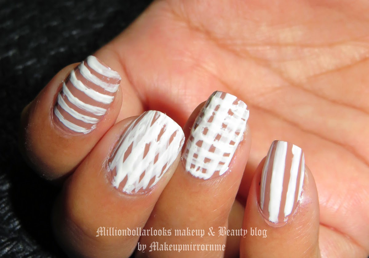 Crazy Lines Nail art | NOTD, Nail art of the Day! http://milliondollarlooks.blogspot.com/ Indian makeup blog, Indian beauty blog, Maeup and beauty blog India, Nail art designs, White and nude Nailart design, Makeupmirrornme, Milliondollarlooks makeup and beauty blog, Maybelline colorshow nail paints