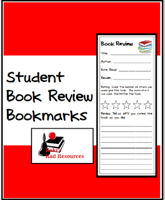 Free student book review bookmarks from Raki's Rad Resources.