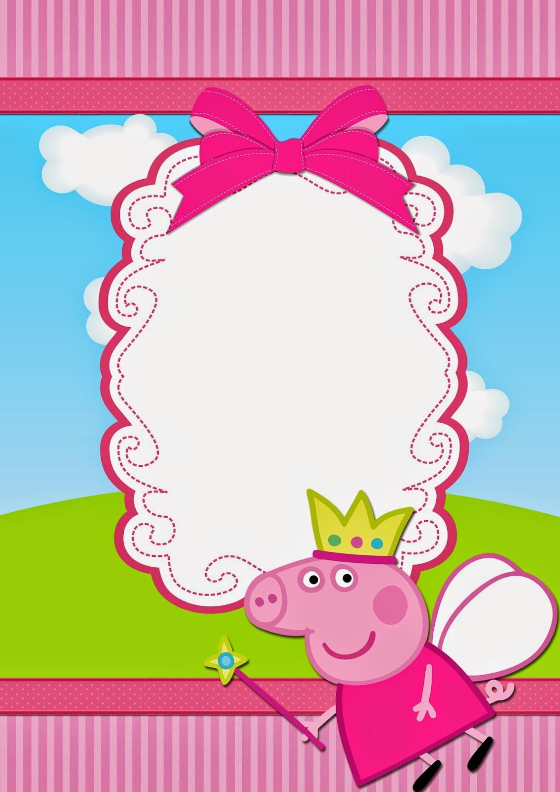 Para hacer invitaciones, tarjetas, marcos de fotos o etiquetas, de Peppa Pig para imprimir gratis.
