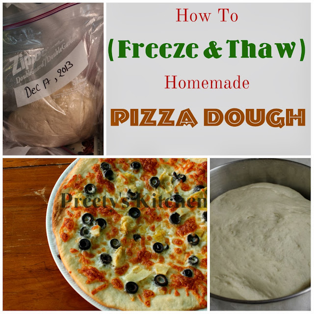 Homemade pizza starts with a homemade pizza crust. Feel free to use your favorite recipe, but if you're looking for one this is my favorite go-to basic pizza crust. Prepare the crust according to the recipe instructions. Par-bake crust and add toppings. The main trick you need to know for freezing homemade pizza is to par-bake the crust.