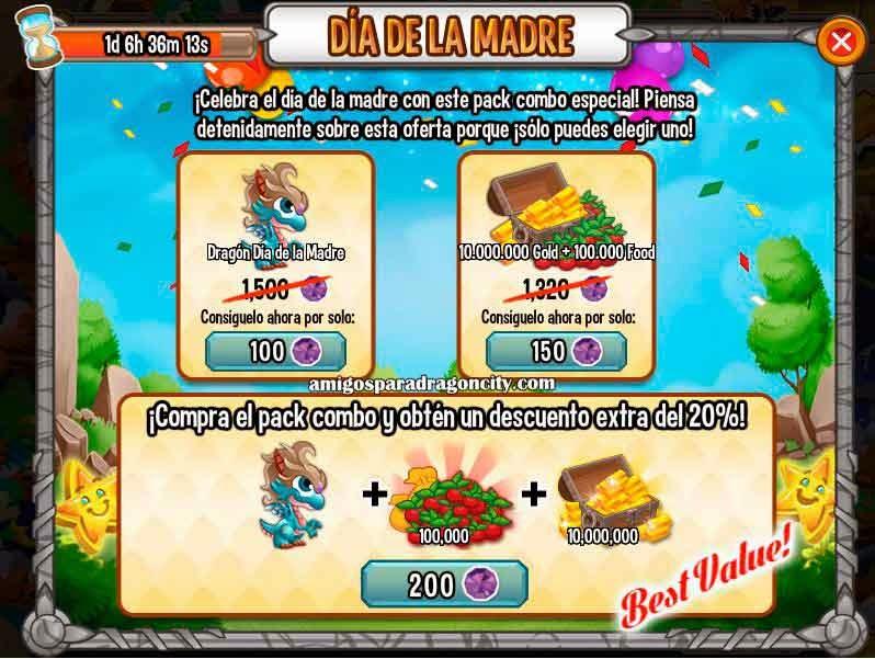 imagen de la oferta especial del dia de la madre de dragon city