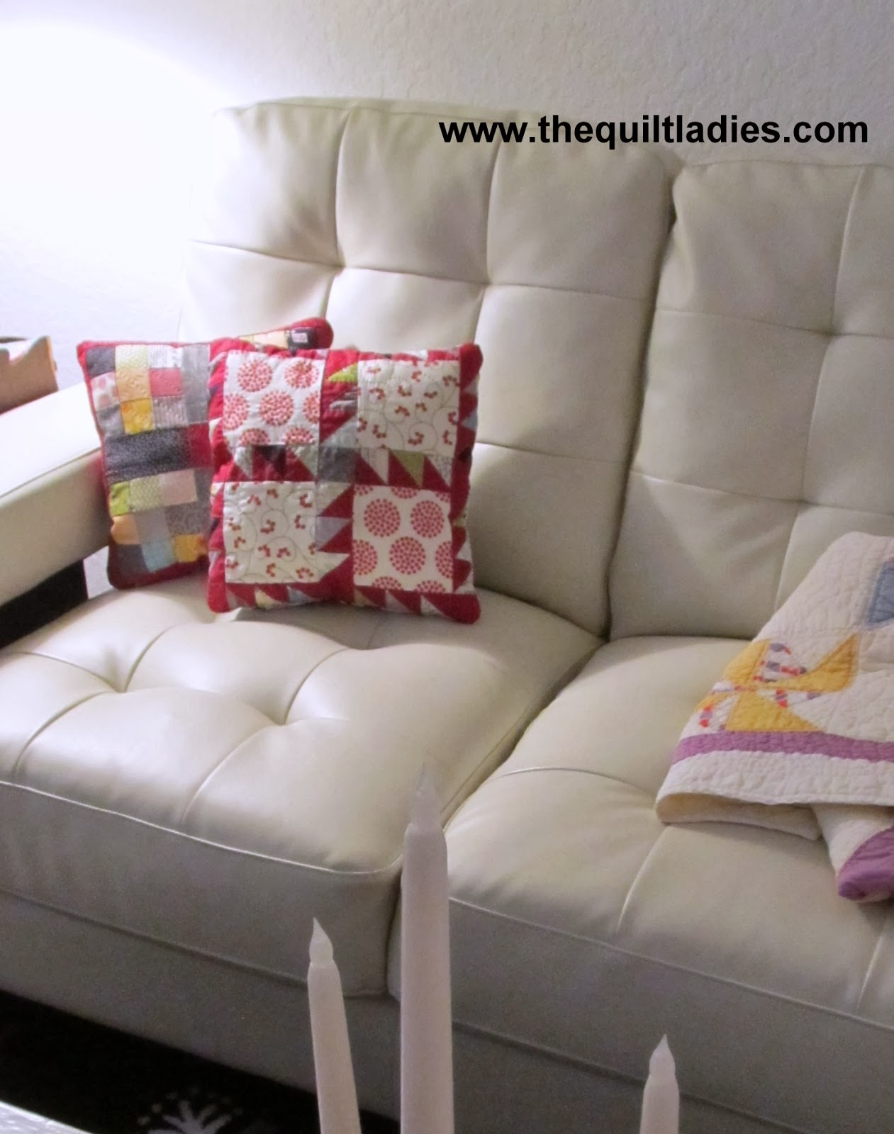 free how to make a quilted pillow with triangles and squares