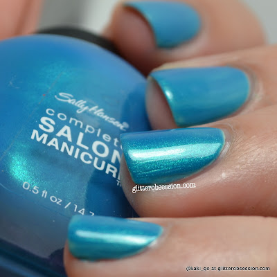 Sally Hansen Calypso Blue over Sally Hansen Green Tea