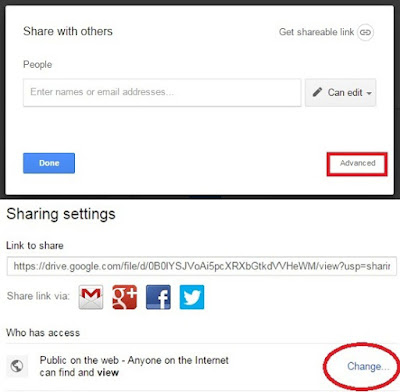 google drive advanced share setting