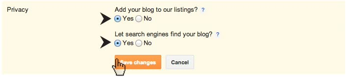 Blogger Privacy Add Search Listings