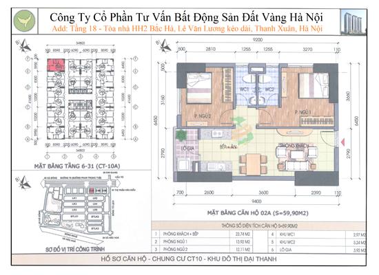 Chung cư Đại Thanh CT10 59,9m2