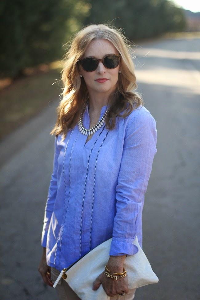 jcrew blue shirt, joie so skinny pants, clare v clutch, elizabeth and james sunnies, jcrew necklace