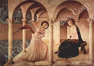 "The Great Artist Fra Angelico Painting ""The Annunciation"" c.1450 Fresco 84"" X 125"" Monastery of San Marco, Florence"