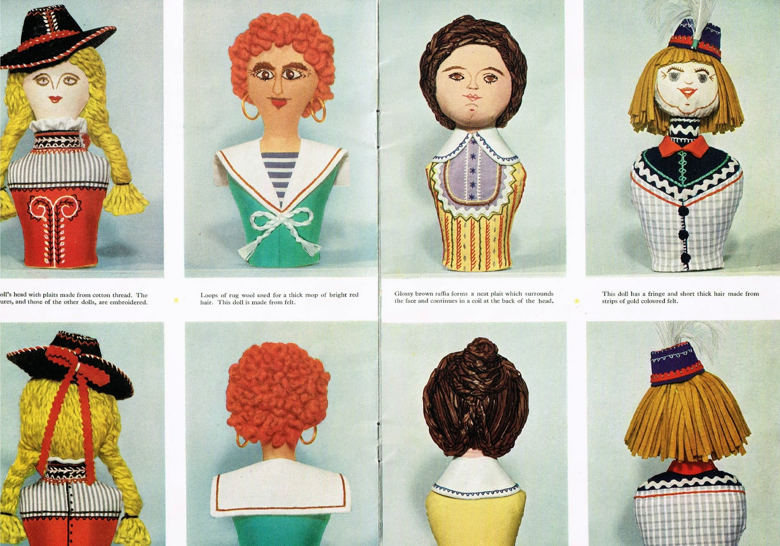 Needlework Development Scheme leaflet, various doll heads