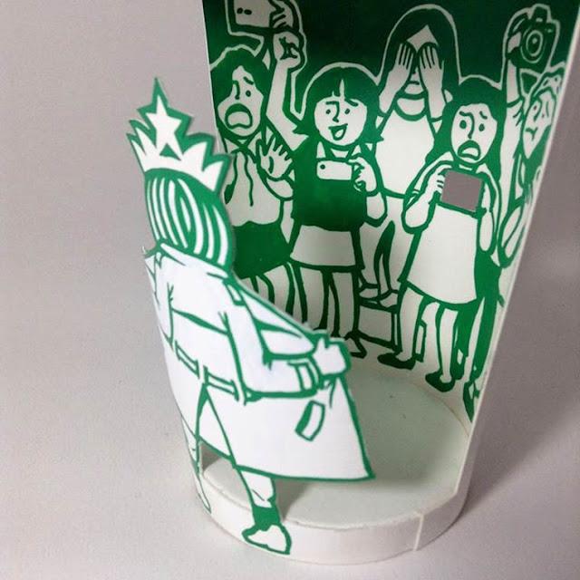 Artista usa de muita criatividade e talento para recriar os copos da Starbucks