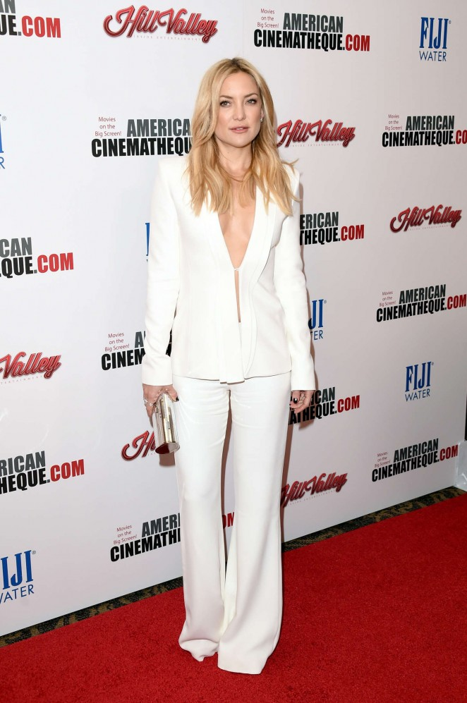 Kate Hudson goes braless in a suit at the American Cinematheque Awards 2015