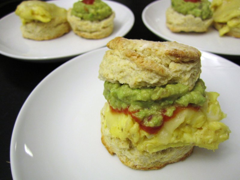 Buttermilk Biscuit Sandwich (substituting guacamole and salsa for the ...