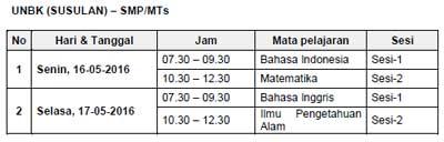 Jadwal UNBK Susulan SMP/MTs  tahun 2016