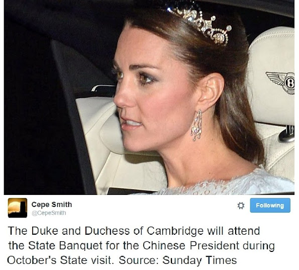 Kate Middleton will attend the State Banquet Kate in a tiara again