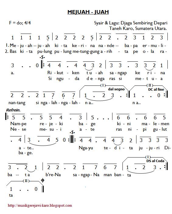 Partitur Lagu Karo: Mejuah-juah