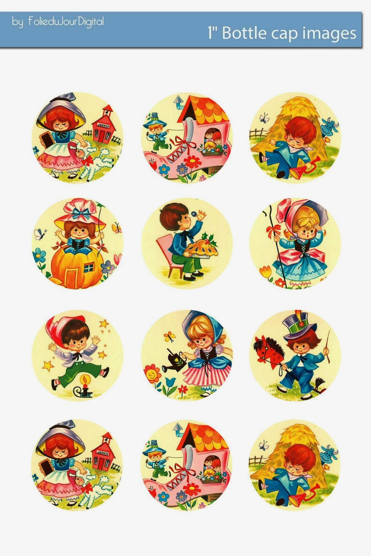 Mother Goose Nursery Rhymes Free Bottle Cap Images