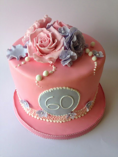 60th Pink Rose Birthday Cake