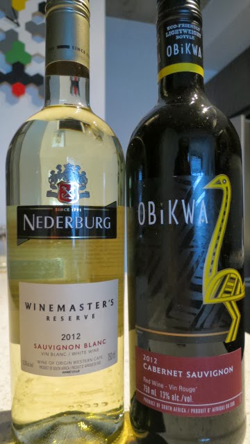 Wine Reviews for 2012 Nederburg Winemaster's Reserve Sauvignon Blanc and 2012 Obikwa Cabernet Sauvignon, from South Africa