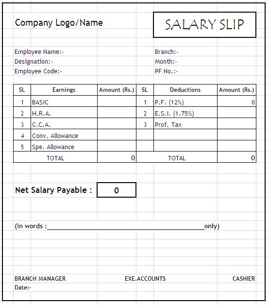 slip format in word click here for salary slip format in excel format ...