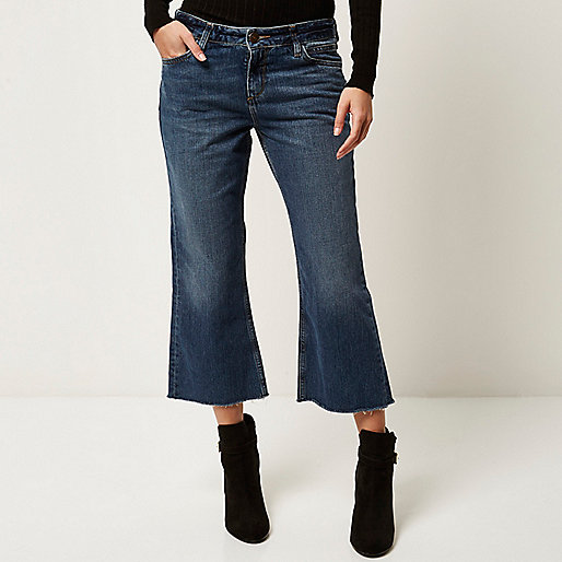 denim cropped flare jeans, denim culottes river island,