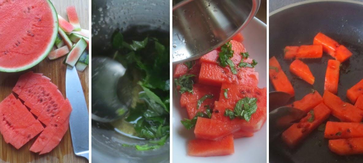 Zubereitung Gebratene Wassermelone mit Honig und Minze