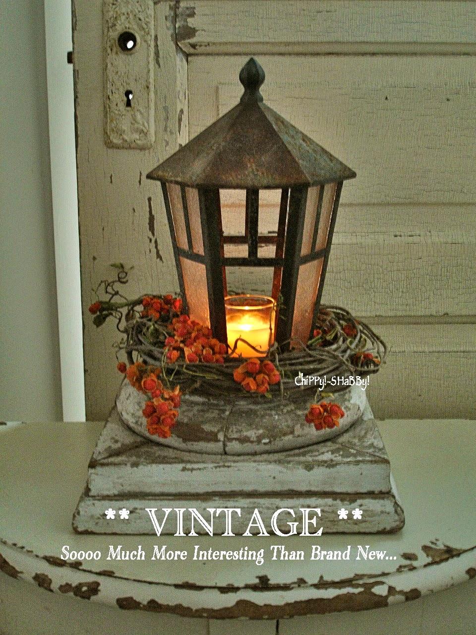 Chippy shabby re purposed vintage lantern centerpiece