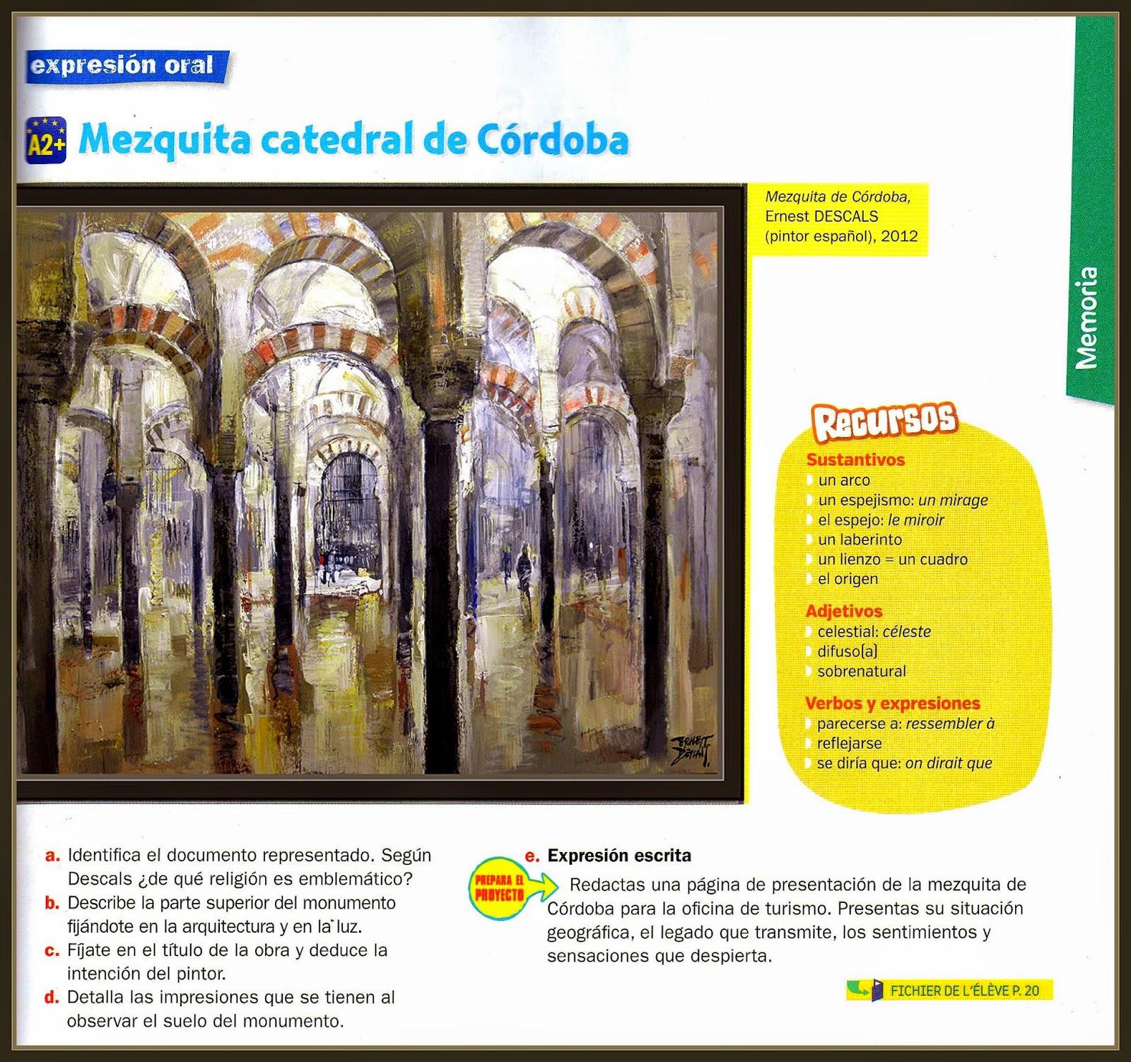 MEZQUITA-CORDOBA-PINTURA-PINTOR-ERNEST DESCALS-LIBROS-EDUCACION-FRANCIA-EDITORIAL-NATHAN