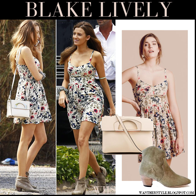 Blake Lively in floral print mini dress with cream bag and suede western isabel marant dicker ankle boots what she wore july 31