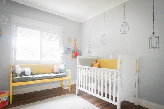 Quarto de bebê corujas em amarelo e cinza  Bebê com Estilo