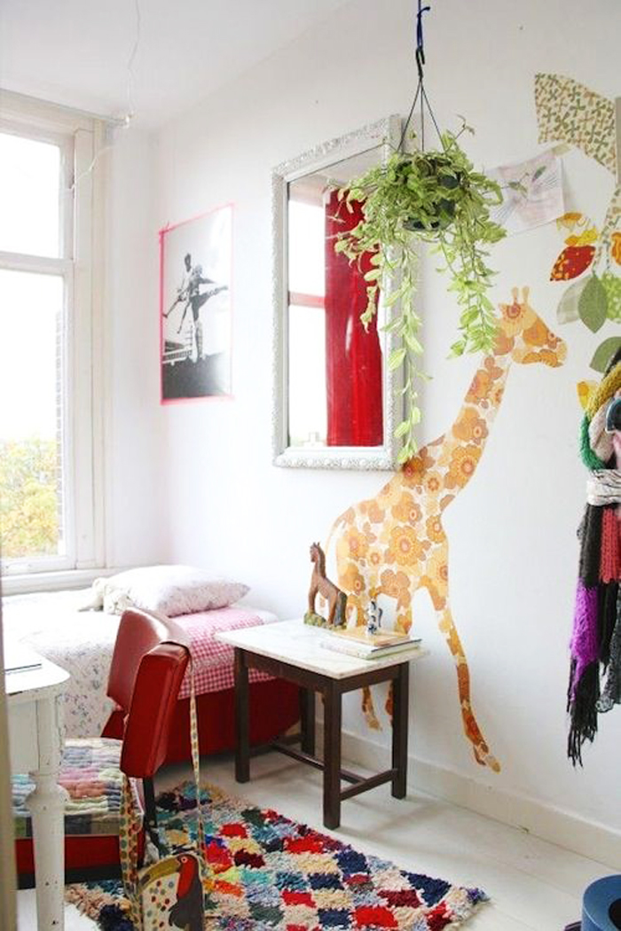 colourful child room with plant