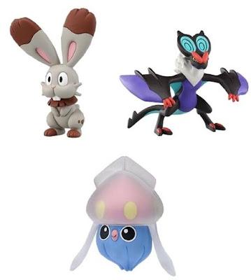 Pokemon Figure Tomy MC Bunnelby Noivern Inkay