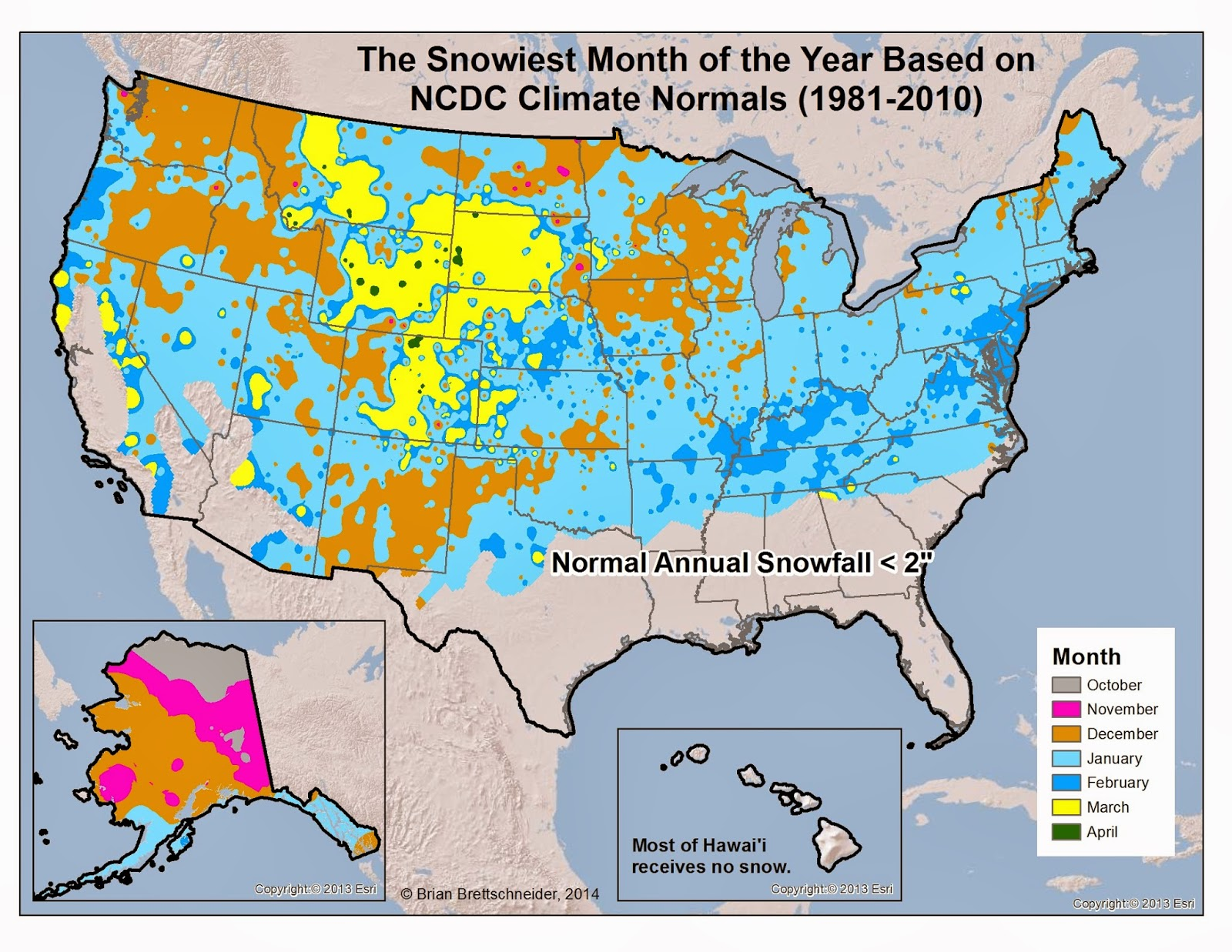 Brian Bs Climate Blog March - Us annual snowfall map