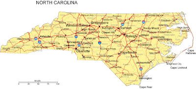 North Carolina County Map Region