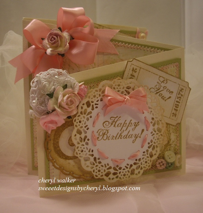 Cheryl Here With My Shabby Chic Happy Birthday Z Fold Card For Really Reasonable Ribbon And I Have 2 Videos To Share 1 On The You Can Find It