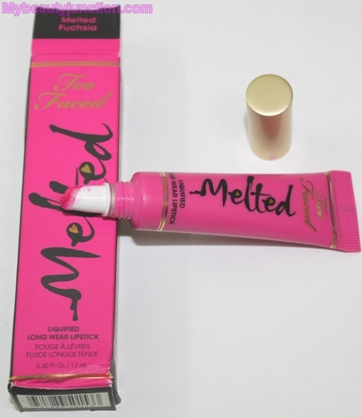 Too Faced Melted Fuchsia lipstick review, swatches