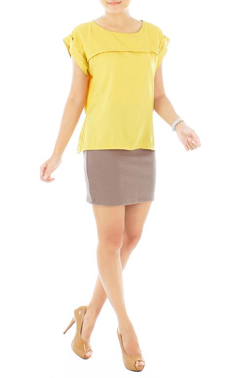 Yellow Minimalist Cuffed Blouse