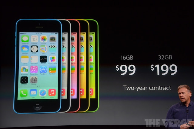 The Apple iPhone  5C is officially, a plastic and colorful iPhone for $99