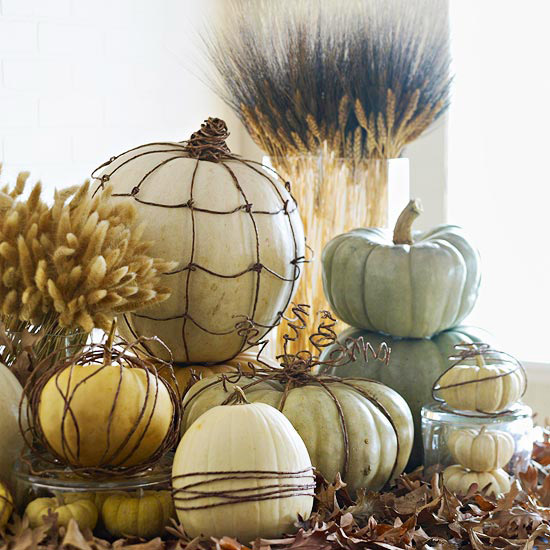 Fall Vignette with DIY Grapevine Pumpkins from Inspiration For Moms Week 37 Featured Post