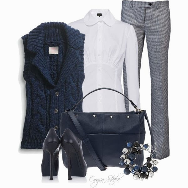 Dark blue sleevless sweater white shirt high heel shoes pants with hand bag