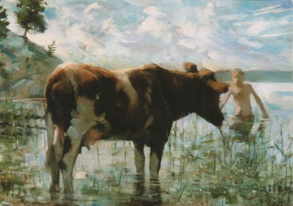 impressionist style painting of a cow wading in a pond and a boy emerging from swimming