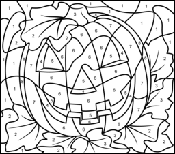 Crush image with color by numbers halloween printable