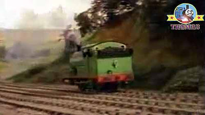 Percy engine striate through King Edward train station up the top of Island of Sodor Gordon's hill