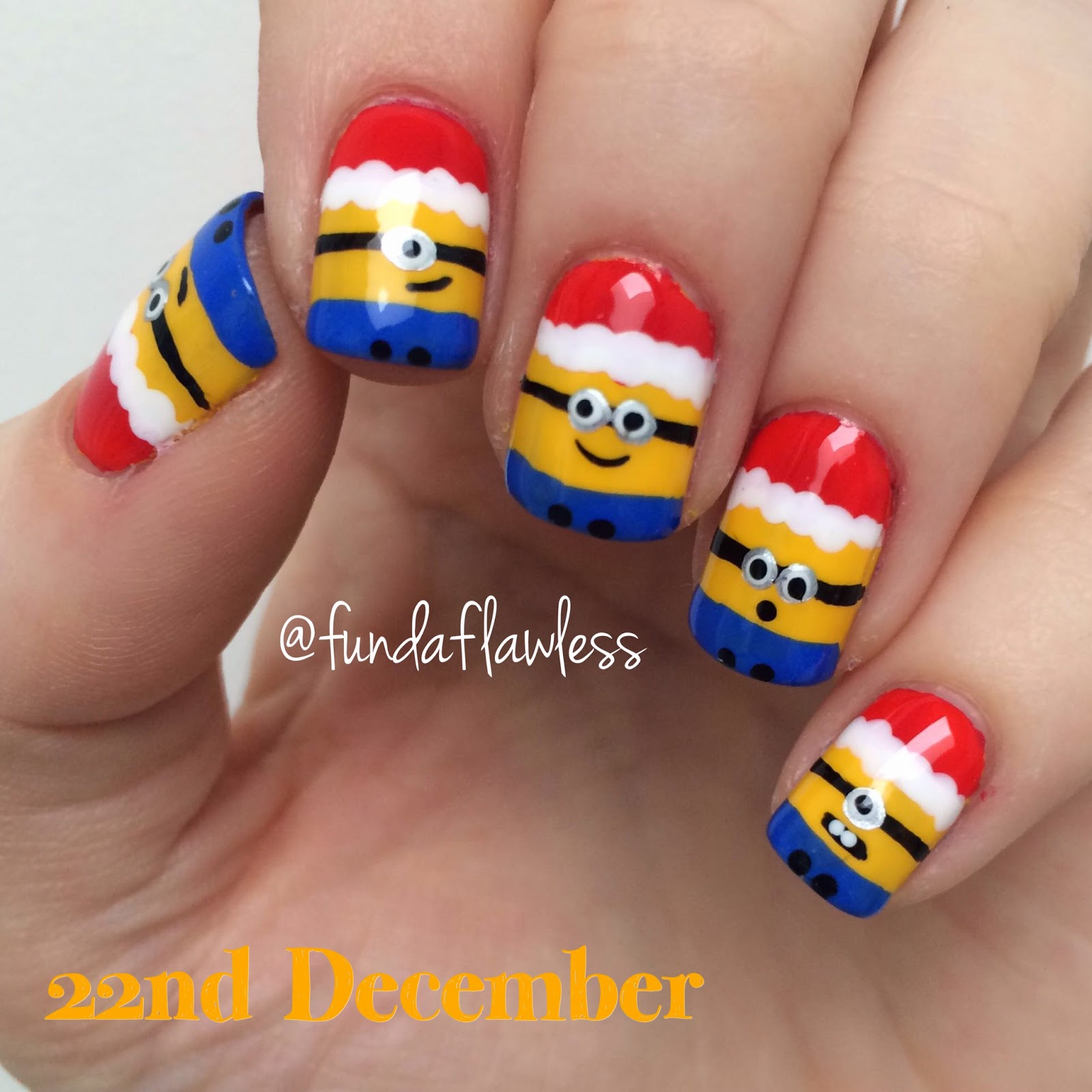 Christmas Santa Minions from Despicable Me nail art