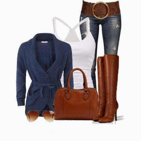 Stylish blue cardigan, white vest, jeans, long boots and brown handbag for fall
