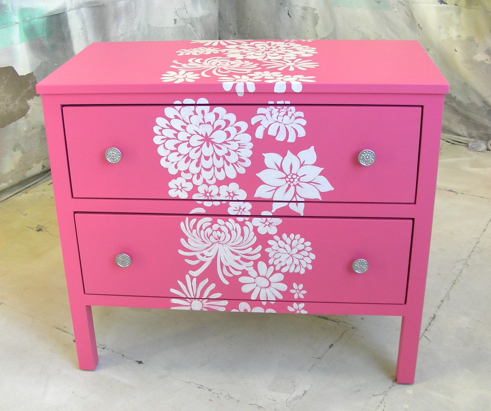 Sydney barton painted furniture pink nightstand with - Paint stencils for furniture ...